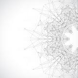 Γεωμετρική αφηρημένη μορφή με τις συνδεδεμένα γραμμές και τα σημεία Φουτουριστικό σχέδιο τεχνολογίας επίσης corel σύρετε το διάνυ Στοκ Φωτογραφίες