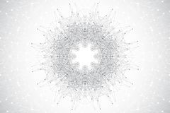 Γεωμετρική αφηρημένη στρογγυλή μορφή με τη συνδεδεμένα γραμμή και τα σημεία Χαοτικό υπόβαθρο μινιμαλισμού Γραμμικό σημάδι, σύμβολ Στοκ εικόνες με δικαίωμα ελεύθερης χρήσης