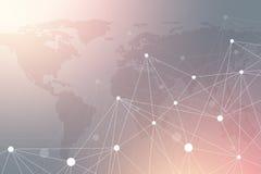 Γεωμετρική γραφική επικοινωνία υποβάθρου με το διαστιγμένο παγκόσμιο χάρτη Μεγάλα στοιχεία σύνθετα με τις ενώσεις Προοπτική ελάχι Στοκ εικόνες με δικαίωμα ελεύθερης χρήσης