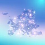 Γεωμετρική γραφική επικοινωνία υποβάθρου με το χάρτη της Ευρώπης Μεγάλα στοιχεία σύνθετα με τις ενώσεις Σκηνικό προοπτικής Στοκ Εικόνα