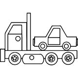 Γεωμετρικοί αριθμοί παιδιών φορτηγών που χρωματίζουν τη σελίδα Στοκ Εικόνα
