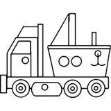 Γεωμετρικοί αριθμοί παιδιών φορτηγών που χρωματίζουν τη σελίδα Στοκ Εικόνες