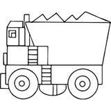 Γεωμετρικοί αριθμοί παιδιών φορτηγών που χρωματίζουν τη σελίδα Στοκ Φωτογραφίες