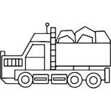 Γεωμετρικοί αριθμοί παιδιών φορτηγών που χρωματίζουν τη σελίδα Στοκ φωτογραφία με δικαίωμα ελεύθερης χρήσης