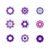 Γεωμετρικοί κύκλοι καθορισμένοι Αφηρημένα επιχειρησιακά σημάδια Στοιχεία σχεδίου για ένα σημάδι, ένα σύμβολο, ένα λογότυπο, έναν  Στοκ Εικόνα