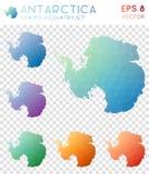 Γεωμετρικοί polygonal χάρτες της Ανταρκτικής, ύφος μωσαϊκών διανυσματική απεικόνιση