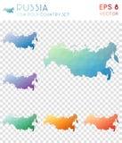 Γεωμετρικοί polygonal χάρτες της Ρωσίας, ύφος μωσαϊκών απεικόνιση αποθεμάτων