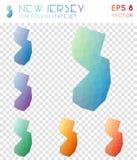 Γεωμετρικοί polygonal χάρτες του Νιου Τζέρσεϋ, ύφος μωσαϊκών διανυσματική απεικόνιση