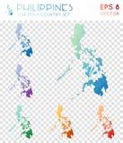 Γεωμετρικοί polygonal χάρτες των Φιλιππινών, μωσαϊκό διανυσματική απεικόνιση