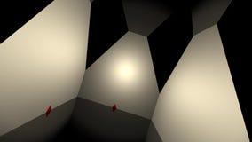 Γεωμετρικός τρισδιάστατος βρόχος σκηνικού με τα κόκκινα τρίγωνα διανυσματική απεικόνιση