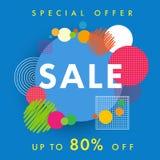 Γεωμετρικός χρωματισμένος φουτουριστικός κύκλος σχεδίου προτύπων εμβλημάτων πώλησης Στοκ Εικόνες