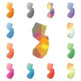Γεωμετρικός polygonal του Νιου Τζέρσεϋ, μωσαϊκό μας ορίζει Στοκ εικόνα με δικαίωμα ελεύθερης χρήσης