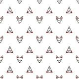 Γεωμετρικό άνευ ραφής διανυσματικό σχέδιο Minimalistic με τις αλεπούδες και τις σκηνές Στοκ εικόνα με δικαίωμα ελεύθερης χρήσης