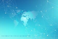 Γεωμετρικό αφηρημένο υπόβαθρο με τη συνδεδεμένα γραμμή και τα σημεία Γραφικό υπόβαθρο με τον παγκόσμιο χάρτη για το σχέδιό σας δι Στοκ Εικόνες