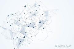 Γεωμετρικό αφηρημένο υπόβαθρο με τη συνδεδεμένα γραμμή και τα σημεία Μόριο και επικοινωνία δομών Επιστημονική έννοια για διανυσματική απεικόνιση