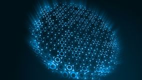 Γεωμετρικό αφηρημένο φουτουριστικό μπλε υπόβαθρο με hexagons με τις ελαφριές ακτίνες ελεύθερη απεικόνιση δικαιώματος