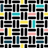 Γεωμετρικό διανυσματικό σχέδιο στο αναδρομικό ύφος, σύγχρονη μοντέρνη σύσταση, αφηρημένο υπόβαθρο Μαύρο, ρόδινο, κίτρινο και μπλε διανυσματική απεικόνιση
