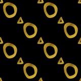 Γεωμετρικό μαύρο και χρυσό άνευ ραφής σχέδιο Στοκ Εικόνες
