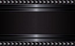 Γεωμετρικό μαύρο σχέδιο με ένα κατασκευασμένο πλαίσιο και τα βέλη του μεταλλικού χρώματος Στοκ Φωτογραφία