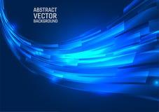 Γεωμετρικό μπλε αφηρημένο υπόβαθρο χρώματος Ύφος κυμάτων σχεδίου με το διάστημα αντιγράφων διανυσματική απεικόνιση