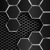 Γεωμετρικό σχέδιο hexagons με τα μαύρα μεταλλικά πιάτα Στοκ εικόνες με δικαίωμα ελεύθερης χρήσης