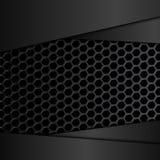 Γεωμετρικό σχέδιο hexagons με τα μαύρα μεταλλικά πιάτα Στοκ φωτογραφία με δικαίωμα ελεύθερης χρήσης