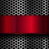 Γεωμετρικό σχέδιο hexagons με το κόκκινο μεταλλικό έμβλημα Στοκ φωτογραφίες με δικαίωμα ελεύθερης χρήσης