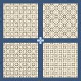 Γεωμετρικό σύνολο σχεδίων διακοσμήσεων άνευ ραφής textile διανυσματική απεικόνιση