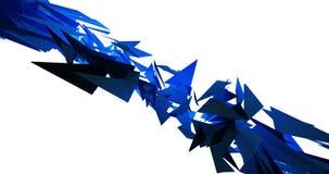 Γεωμετρικό τρίγωνο που επιπλέει και που κυμαίνεται στην μπλε τηλεοπτική ζωτικότητα υποβάθρου 4k απόθεμα βίντεο