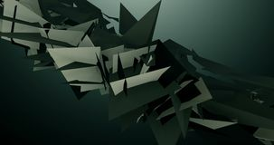 Γεωμετρικό τρίγωνο που επιπλέει και που κυμαίνεται στη σκοτεινή γκρίζα τηλεοπτική ζωτικότητα υποβάθρου 4k απόθεμα βίντεο