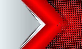 Γεωμετρικό υπόβαθρο με ένα κόκκινο βέλος και πολλές μικρές τρύπες Στοκ φωτογραφία με δικαίωμα ελεύθερης χρήσης