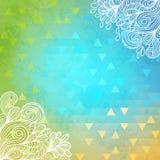 Γεωμετρικό υπόβαθρο με τα doodles και τα τρίγωνα ελεύθερη απεικόνιση δικαιώματος