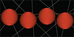 Γεωμετρικό υπόβαθρο με τις άσπρες γραμμές και τις πορτοκαλιές σφαίρες Στοκ Φωτογραφία