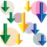 Γεωμετρικό υπόβαθρο σχεδίων χρώματος με το βέλος κύκλων διανυσματική απεικόνιση