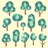 Γεωμετρικό χαμηλό πολυ πράσινο σύνολο δέντρων Στοκ Φωτογραφίες