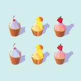 Γεωμετρικό χαμηλό πολυ Cupcake Στοκ φωτογραφίες με δικαίωμα ελεύθερης χρήσης