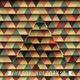 Γεωμετρικό χριστουγεννιάτικο δέντρο σε ένα γεωμετρικό υπόβαθρο Στοκ εικόνα με δικαίωμα ελεύθερης χρήσης