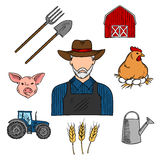 Γεωργία ή σύμβολο σκίτσων αγροτών ζωικού κεφαλαίου Στοκ Φωτογραφία