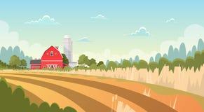 Γεωργία και καλλιέργεια, τοπίο επαρχίας καλλιεργήσιμου εδάφους διανυσματική απεικόνιση