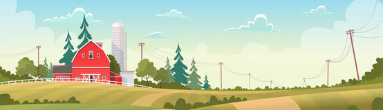 Γεωργία και καλλιέργεια, τοπίο επαρχίας καλλιεργήσιμου εδάφους ελεύθερη απεικόνιση δικαιώματος