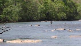 Γεωργία, πάρκο γεφυρών του Τζόουνς, ψαράς Α που αλιεύει στη μέση του ποταμού Chattahoochee φιλμ μικρού μήκους