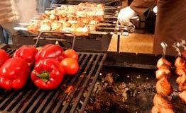 Γεωργιανός που το παραδοσιακό κρέας στα οβελίδια Στοκ Φωτογραφίες