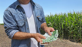 Γεωργική έννοια, αγρότης, χρήματα και τομέας Στοκ Εικόνες