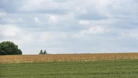 Γεωργικοί τομείς και δύο bicyclists στοκ φωτογραφίες