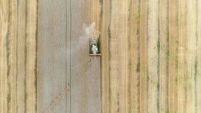 Γεωργικός συνδυάζει το σίτο συγκομιδής στο μεγάλο τομέα φιλμ μικρού μήκους