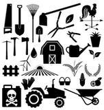 Γεωργικό σύνολο εξοπλισμού και αγροκτημάτων Στοκ εικόνα με δικαίωμα ελεύθερης χρήσης