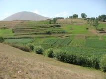 Γεωργικό τοπίο της Αρμενίας με εξάλλου ένα ηφαίστειο _ στοκ φωτογραφία με δικαίωμα ελεύθερης χρήσης