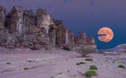 Γεωλογικοί σχηματισμοί στην κοιλάδα ερήμων φύσης του πάρκου Timna, Ισραήλ στοκ εικόνα