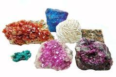 Γεωλογικό cryst χαλαζία Celestite aragonite vanadinite erythrite Στοκ φωτογραφίες με δικαίωμα ελεύθερης χρήσης