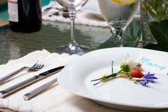 γεύμα έξω από την τιμή τών παραμέτρων του πίνακα Στοκ Φωτογραφίες